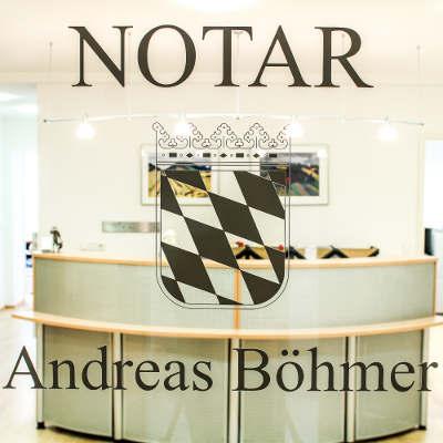 Blick durch die gläserne Eingangstür des Notariats Böhmer
